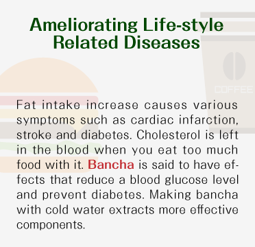 Ameliorating Life-style Related Diseases - Fat intake increase causes various symptoms such as cardiac infarction, stroke and diabetes. Cholesterol is left in the blood when you eat too much food with it. Bancha is said to have effects that reduce a blood glucose level and prevent diabetes. Making bancha with cold water extracts more effective components.